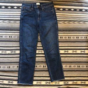 Distressed Hem Vintage Straight Jeans